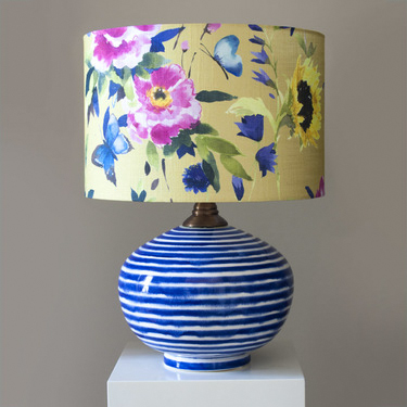 Blue & White Stripe Oval Lamp with Saffron Butterfly Shade