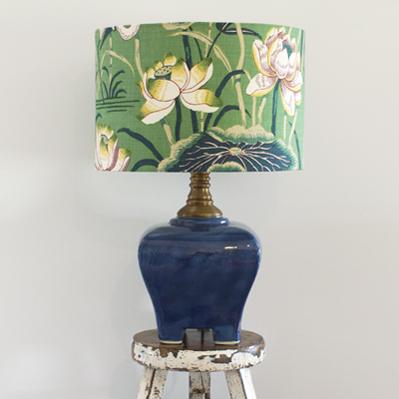 Deep Opaque Blue with Lotus Garden Shade