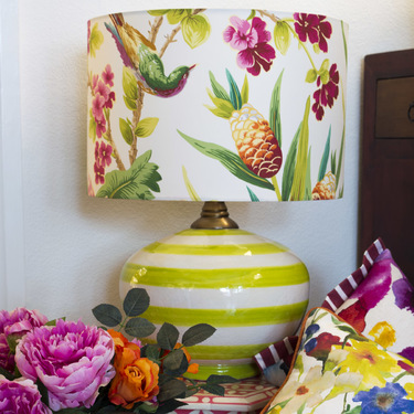 Lime Stripe Oval Lamp with Seychelles Shade