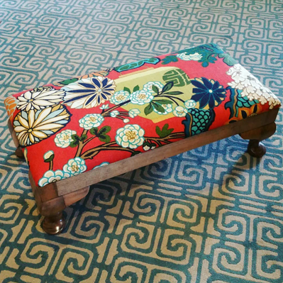 Chiang Mai Dragon custom upholstered foot stool