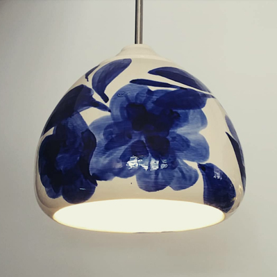 Hand painted ceramic light fitting
