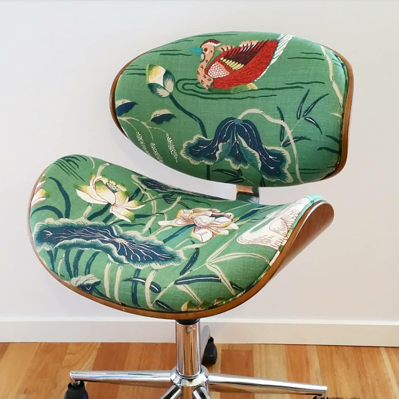 Lotus Garden custom upholstered office chair
