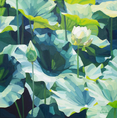 Lotus - oil on timber - 2016 - 500 x 500mm