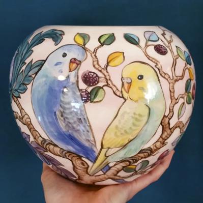 Pink budgie vase by Alexandra Matthews